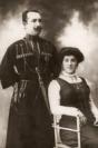 Mamoy bek Shikhlinski with wife Mugindanise, Kazakh, 1900s